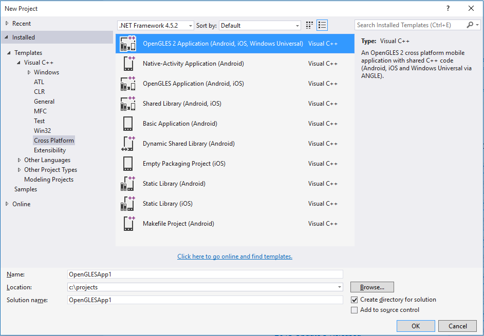Visual c opengles2 project template visual studio marketplace overview maxwellsz